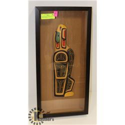 FRAMED SHAWN BAKER EAGLE WOOD CARVING.