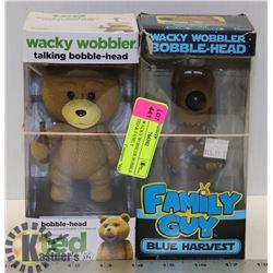 LOT OF 2 WACKY WOBBLER BOBBLE HEADS - TED & FAMILY