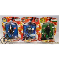 LOT OF 3 DOCTOR WHO ACTION FIGURES.
