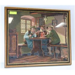 "3 GERMAN MEN IN PUB, GLASS FRONT 26""X 22"""