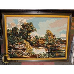HORSE & PEOPLE IN BOAT YELLOW VELVET BORDER 38.5 X