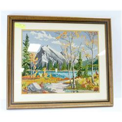 "JASPER MOUNTAIN SCENE, GLASS FRONT, 27"" X 23"""