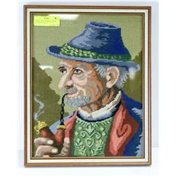 "GERMAN MAN SMOKING PIPE IN BLUE HAT 13"" X 16"""