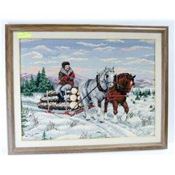 "LOGS ON SLED PULLED BY CLYDESDALES 32"" X 25"""