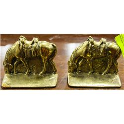PAIR OF BRASS HORSE BOOKENDS