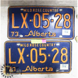 1973 PAIR OF ALBERTA LICENSE PLATES.