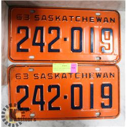 PAIR OF 1963 SASKATCHEWAN LICENSE PLATES.