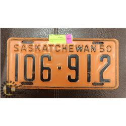 1950 SASKATCHEWAN LICENSE PLATE.