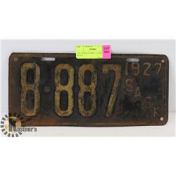 1927 SASKATCHEWAN LICENSE PLATE.