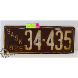1926 SASKATCHEWAN LICENSE PLATE.