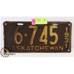 1931 SASKATCHEWAN LICENSE PLATE.