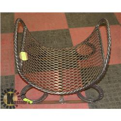 ROUNDED FIREWOOD HOLDER-TWISTED STEEL/MESH