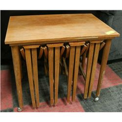 VINTAGE WOODEN TABLE WITH 4 STACKING TABLES.