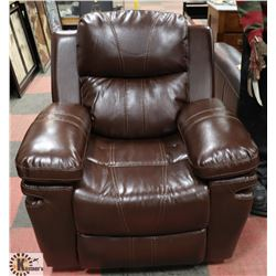 NEW BROWN LEATHERETTE RECLINING SOFA CHAIR