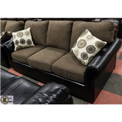 "NEW LEATHERETTE AND FABRIC SOFA 80"" & LOVE SEAT"