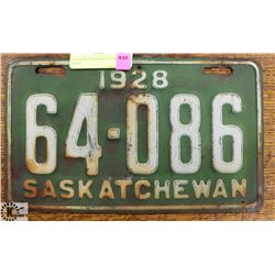 1928 SASKATCHEWAN LICENSE PLATE.