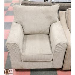 "37"" CORDUROY FABRIC TAN COLORED ARM CHAIR."