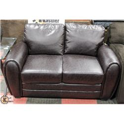 "59"" CHOCOLATE LEATHERETTE LOVE SEAT"