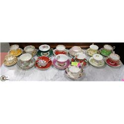 COLLECTION OF 15 CHINA CUP+SAUCER SETS.