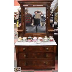 1940'S WOOD DRESSER WITH MIRROR AND BRASS ACCENTS