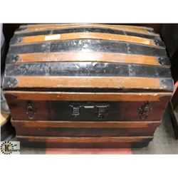 "ANTIQUE TREASURE TRUNK, 28.5""X18.5""X23.5""."