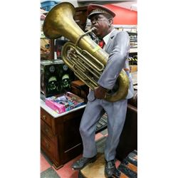 6FT TUBA PLAYER FIGURE, SPEAKER INSIDE OF THE TUBA