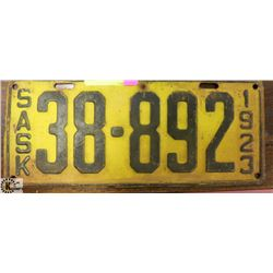 1923 SASKATCHEWAN LICENSE PLATE.