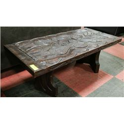 "WOOD DECORATIVE COFFEE TABLE, 40""X19""X15""."