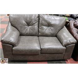 "NEW GREY LEATHERETTE 64"" LOVE SEAT."