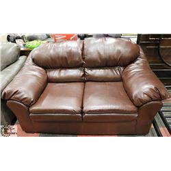 "NEW BROWN LEATHERETTE 69"" LOVE SEAT."