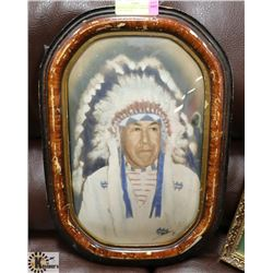 VINTAGE CURVED GLASS NATIVE CHIEF PICTURE.