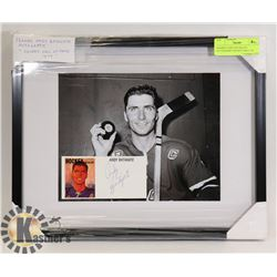 "FRAMED ANDY BATHGATE AUTOGRAPH ""HOCKEY HALL OF"
