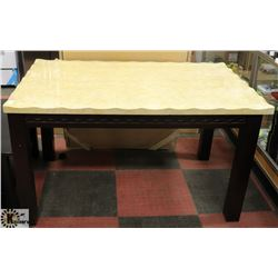 LOT OF 3 STONE TOP STYLE KITCHEN TABLES - AS IS