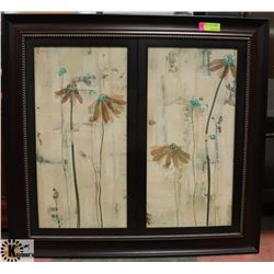 WOOD TONE FRAMED FLORAL PICTURE