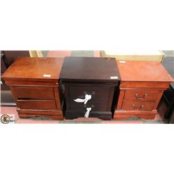 LOT OF 3 ASSORTED 2 DRAWER NIGHT STANDS - AS IS