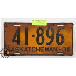 1936 SASKATCHEWAN LICENSE PLATE.
