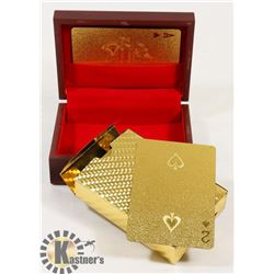 NEW PACK OF GOLD FOIL PAYING CARDS IN WOOD BOX