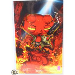 MARVIN MARIANO SIGNED HELLBOY STEWIE POSTER.