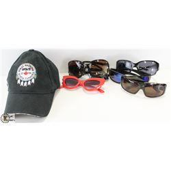 BASEBALL HAT WITH ASSORTED SUNGLASSES.
