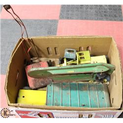 BOX OF VINTAGE METAL VEHICLE TOYS,