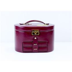VINTAGE 1997 LEATHER CARRY JEWELLERY BOX WITH