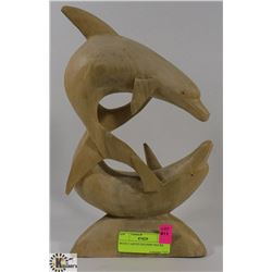 WOOD CARVED DOLPHIN FIGURE.