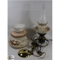 VINTAGE LAMP WITH GLASS CHIMNEY - ELECTRIC AND