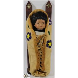 FIRST NATIONS DOLL ON PAPOOSE BOARD