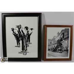 CROWS IN SUITS ART AND TRAIN WRECK PHOTO.