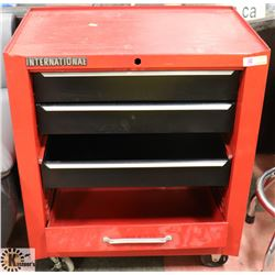 INTERNATIONAL RED AND BLACK TOOL BOX