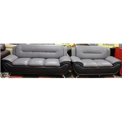 """NEW GREY AND BLACK LEATHERETTE 76"""" SOFA & 58"""" LOVE"""