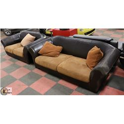 """LEATHERETTE AND FABRIC 74"""" LOVE SEAT AND 90"""" SOFA"""