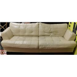 """BEIGE LEATHERETTE 88"""" SOFA - AS IS."""