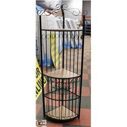 3 TIER CORNER SHELF WITH WINE RACK AND METAL DOORS